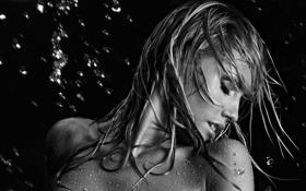 Картинка капли, мокрая, фон, девушка, вода, темный