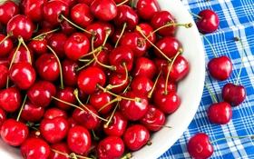 Обои лето, миска, фрукты, салфетка, спелая черешня