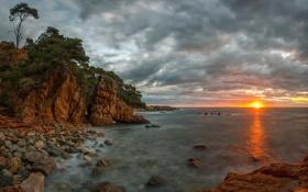 Обои закат, пейзаж, море