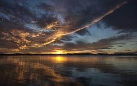 Картинка небо, облака, закат, озеро, вечер