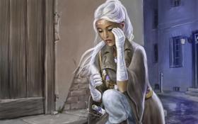 Обои кристалл, девушка, город, улица, арт, перчатки, белые волосы