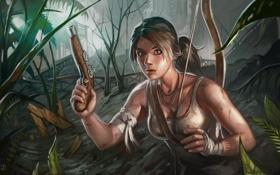 Обои лес, девушка, пистолет, оружие, арт, Лара, Крофт