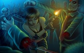 Обои девушка, пистолет, катана, выстрел, бег, зомби, zombie