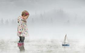 Обои кораблик, Misty Waters, девочка