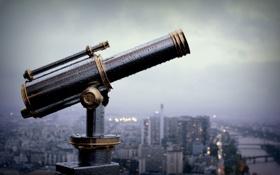 Обои город, смотровая, подзорная труба, Париж, Франция, бинокль