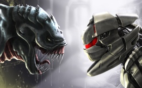 Обои фантастика, робот, монстр, противостояние, Robot vs monstre
