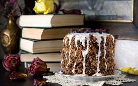 Обои ягоды, книги, розы, торт, йогурт