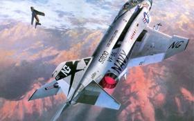 Обои небо, рисунок, истребитель, американский, ВВС, самолёты, многоцелевой