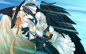 Обои девушки, крылья, шляпа, аниме, арт, kyoukai senjou no horizon, malga naruze