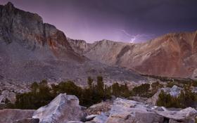 Картинка горы, ночь, молния