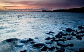 Картинка море, волны, пейзаж, закат, камни, фон, обои