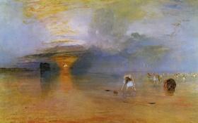 Картинка пляж, закат, картина, отлив, морской пейзаж, Low Water, Кале