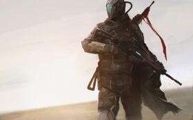 Картинка автомат, наемник, пустыня, человек, шлем