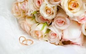 Обои цветы, розы, обручальные кольца