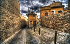 Картинка небо, облака, город, камни, HDR, дома, испания