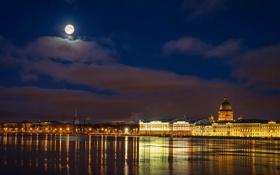 Обои ночь, река, луна, Russia, набережная, питер, санкт-петербург