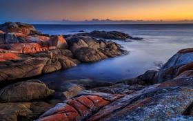 Обои пляж, камни, рассвет, берег, утро