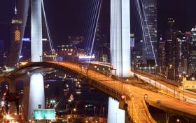 Картинка ночь, мост, огни, Гонконг, hong kong, Stonecutter Bridge