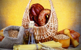 Картинка стол, корзина, зерно, масло, хлеб, мешок, ступка