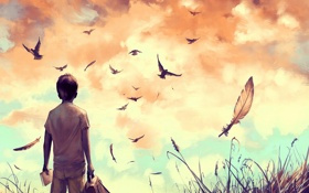Обои трава, облака, птицы, мальчик, арт, книга, портфель