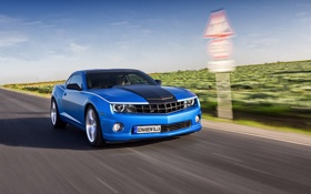Обои blue, Chevrolet, road, Camaro, car, speed, sportcar