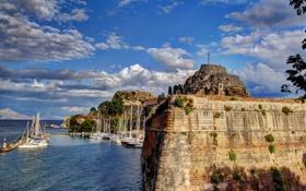 Обои небо, облака, город, фото, побережье, Греция, Corfu