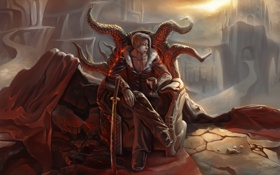 Обои кровь, меч, катана, аниме, арт, вампир, трон