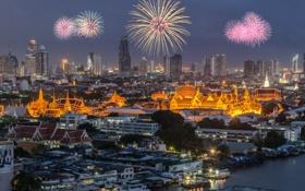 Картинка город, ночные огни, праздник, салют