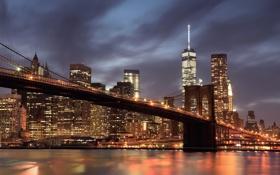 Картинка США, ночь, огни, Нью-Йорк, побережье, залив, дома