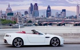 Обои Aston Martin, Авто, Город, Белый, Кабриолет, V12, Спорткар