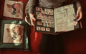 Обои руки, альбом, марки