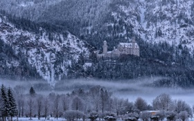 Картинка зима, снег, деревья, горы, туман, Германия, Бавария