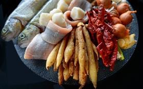Обои еда, рыба, лук