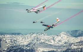 Обои зима, снег, горы, самолеты, парашют, контейнер, Red Bull