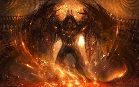 Картинка абстракция, искры, Демон