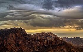 Обои гроза, горы, серые облака