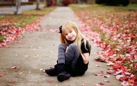 Картинка осень, настроение, девочка