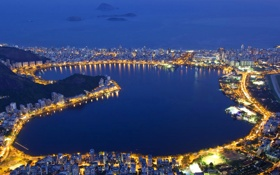 Обои ночь, огни, лагуна, Бразилия, Рио-де-Жанейро, Родриго де Фрейтас