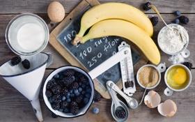 Обои ягоды, яйца, молоко, черника, бананы, посуда, сахар