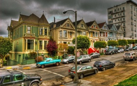 Картинка США, Калифорния, фото, улица, город, дома, Old Victorian houses