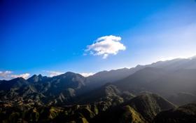 Обои солнце, облака, горы, голубое небо