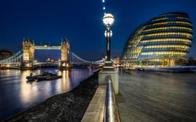 Картинка ночь, Англия, Лондон, night, Tower Bridge, London, England