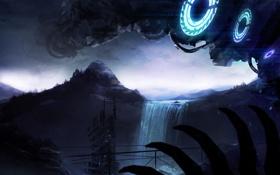 Обои темнота, крепость, водопад