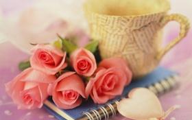 Картинка цветы, сердце, букет, чашка, блокнот, Розы
