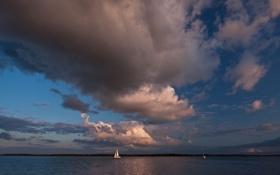 Картинка море, небо, облака, парус