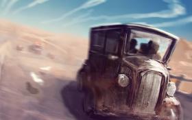 Обои дорога, авто, погоня, грузовик