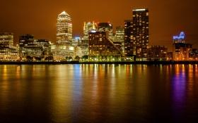 Обои ночь, город, река, Англия, Лондон, здания, небоскребы