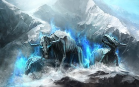 Обои лед, снег, скалы, магия, арт, монстры, рога
