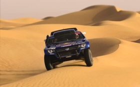 Обои Внедорожник, Touareg, Dakar, Спорт, Rally, Синий, Капот