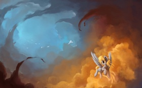 Картинка птицы, краски, пони, живопись, Derpy